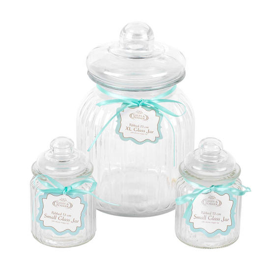 Giles & Posner Three Piece Ribbed Glass Candy Baking Storage Jars, XL and Small Sizes