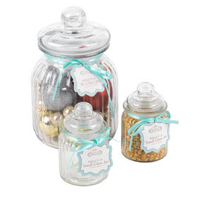 Giles & Posner COMBO-3260 Three Piece Ribbed Glass Candy Baking Storage Jars, XL and Small Sizes Thumbnail 3
