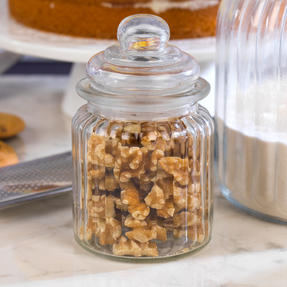Giles & Posner COMBO-3260 Three Piece Ribbed Glass Candy Baking Storage Jars, XL and Small Sizes Thumbnail 4