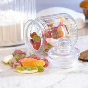 Giles & Posner COMBO-3260 Three Piece Ribbed Glass Candy Baking Storage Jars, XL and Small Sizes Thumbnail 5