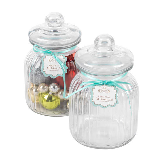 Giles & Posner COMBO-3262 Two Piece Ribbed Glass Candy Baking Storage Jars, XL