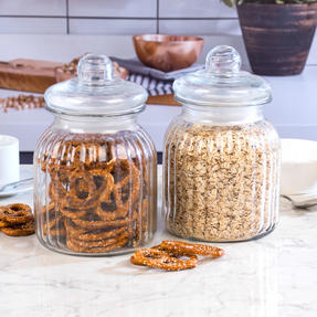 Giles & Posner COMBO-3262 Two Piece Ribbed Glass Candy Baking Storage Jars, XL Thumbnail 2