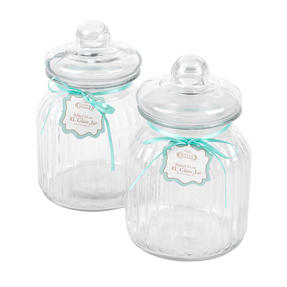 Giles & Posner COMBO-3262 Two Piece Ribbed Glass Candy Baking Storage Jars, XL Thumbnail 3