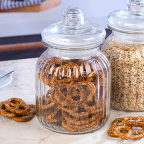 Giles & Posner COMBO-3262 Two Piece Ribbed Glass Candy Baking Storage Jars, XL Thumbnail 4