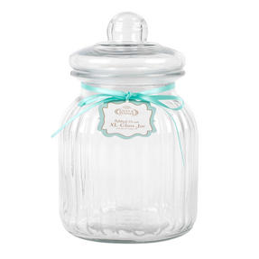 Giles & Posner COMBO-3262 Two Piece Ribbed Glass Candy Baking Storage Jars, XL Thumbnail 7