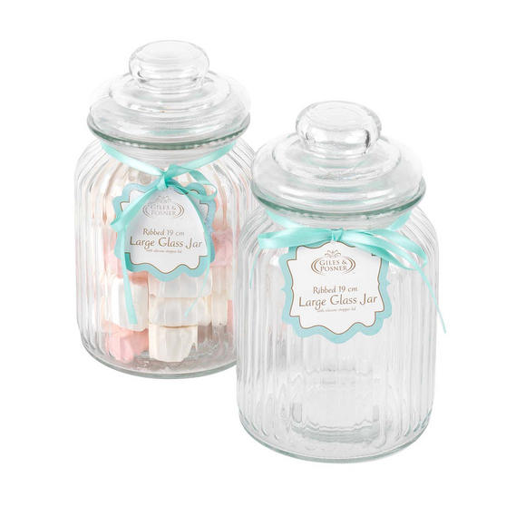Giles & Posner Two Piece Ribbed Glass Candy Baking Storage Jars, Large