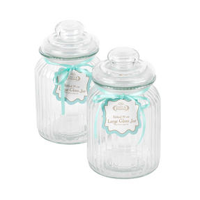 Giles & Posner COMBO-3263 Two Piece Ribbed Glass Candy Baking Storage Jars, Large Thumbnail 3