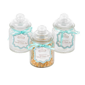 Giles & Posner COMBO-3264 Three Piece Ribbed Glass Candy Baking Storage Jars, Small