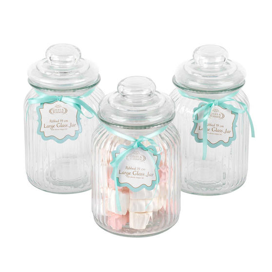 Giles & Posner Three Piece Ribbed Glass Candy Baking Storage Jars, Large