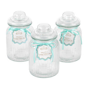 Giles & Posner COMBO-3265 Three Piece Ribbed Glass Candy Baking Storage Jars, Large Thumbnail 3