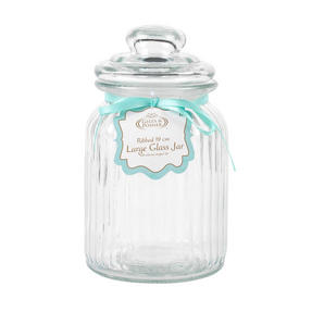 Giles & Posner COMBO-3265 Three Piece Ribbed Glass Candy Baking Storage Jars, Large Thumbnail 8