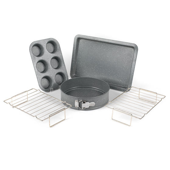 Salter COMBO-3315 Marble Collection Bakeware with 6 Cup Muffin Tray, 24 cm Spring Form Tin, Baking Tray and Cooling Racks