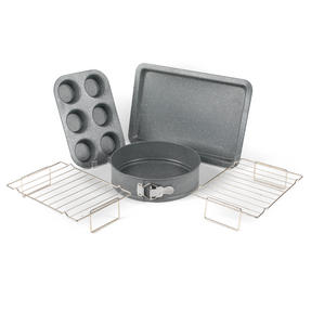 Salter COMBO-3315 Marble Collection Bakeware with 6 Cup Muffin Tray, 24 cm Spring Form Tin, Baking Tray and Cooling Racks Thumbnail 1