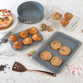 Salter COMBO-3315 Marble Collection Bakeware with 6 Cup Muffin Tray, 24 cm Spring Form Tin, Baking Tray and Cooling Racks Thumbnail 2
