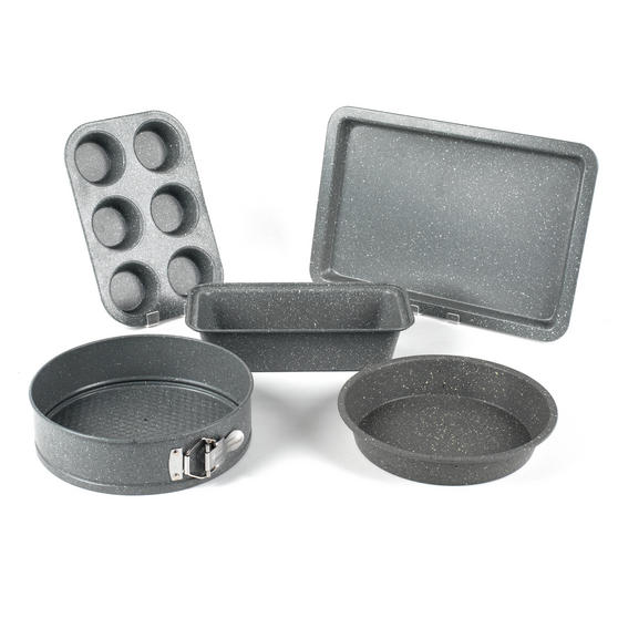 Salter COMBO-3316 Marble Collection Bakeware with  6 Cup Muffin Tray, Baking Tray, Spring Form Pan, Round Tray and Loaf Pan