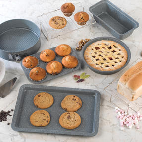 Salter COMBO-3316 Marble Collection Bakeware with  6 Cup Muffin Tray, Baking Tray, Spring Form Pan, Round Tray and Loaf Pan Thumbnail 2
