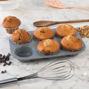 Salter COMBO-3316 Marble Collection Bakeware with  6 Cup Muffin Tray, Baking Tray, Spring Form Pan, Round Tray and Loaf Pan Thumbnail 3