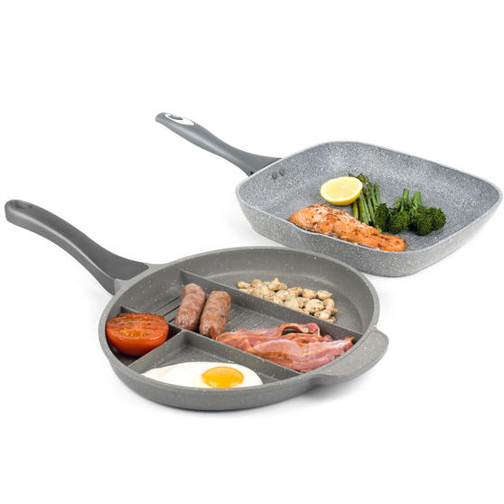 Salter COMBO-3326 Marble Collection Multi Portion Control Non-Stick Pan with Griddle Pan