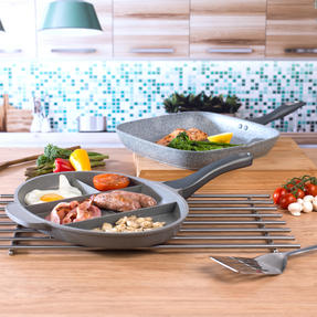 Salter COMBO-3326 Marble Collection Multi Portion Control Non-Stick Pan with Griddle Pan Thumbnail 4