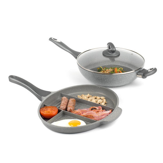 Salter COMBO-3327 Marble Collection Multi Portion Control Non-Stick Pan with Wok