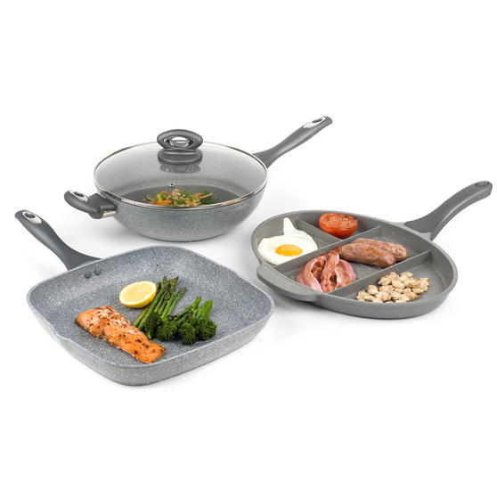 Salter COMBO-3328 Marble Collection Multi Portion Control Non-Stick Pan with Wok and Griddle Pan