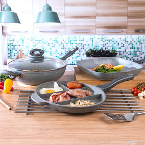 Salter COMBO-3328 Marble Collection Multi Portion Control Non-Stick Pan with Wok and Griddle Pan Thumbnail 5
