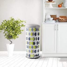 Salter BW07212 Pattern Leaf Kitchen Pedal Bin, 30 Litre, Leaf Print, Grey / Green Thumbnail 2