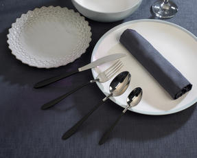 Salter 16-Piece Silver and Black Cutlery Set, Stainless Steel Thumbnail 2