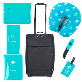 Constellation COMBO-3318 Black Universal Cabin Case with 6 Piece Teal Travel Accessories