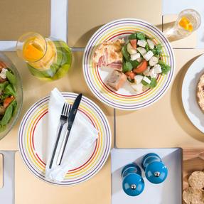 Bugatti COMBO-3329 Large Striped Dinner Plates, 27 cm, Multicolour, Set of 4 Thumbnail 3