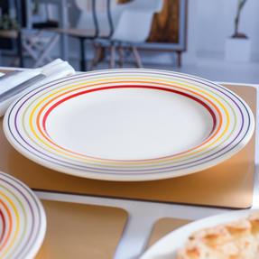Bugatti COMBO-3329 Large Striped Dinner Plates, 27 cm, Multicolour, Set of 4 Thumbnail 7