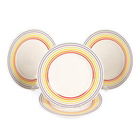 Bugatti COMBO-3330 Striped Side Small Plates, 22 cm, Multicolour, Set of 4 Thumbnail 1