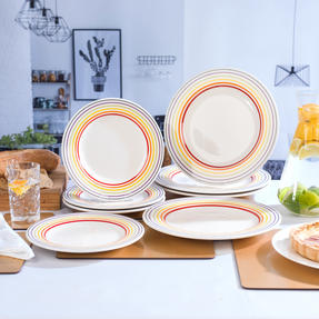 Bugatti COMBO-3331 Large Striped 27 cm Dinner Plates and 22 cm Side Plates, Multicolour, 8 Piece Set Thumbnail 4