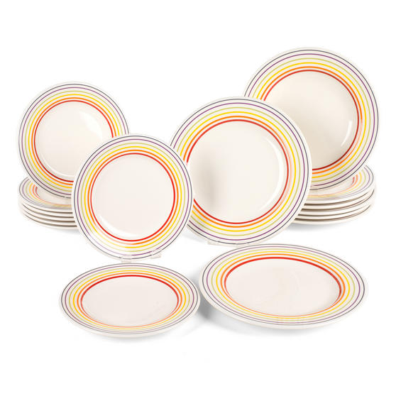 Bugatti COMBO-3332 Large Striped 27 cm Dinner Plates and 22 cm Side Plates, Multicolour, 16 Piece Set