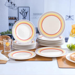 Bugatti COMBO-3332 Large Striped 27 cm Dinner Plates and 22 cm Side Plates, Multicolour, 16 Piece Set Thumbnail 2