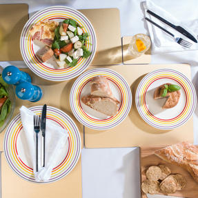 Bugatti COMBO-3332 Large Striped 27 cm Dinner Plates and 22 cm Side Plates, Multicolour, 16 Piece Set Thumbnail 3