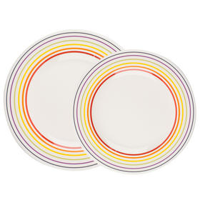 Bugatti COMBO-3332 Large Striped 27 cm Dinner Plates and 22 cm Side Plates, Multicolour, 16 Piece Set Thumbnail 4