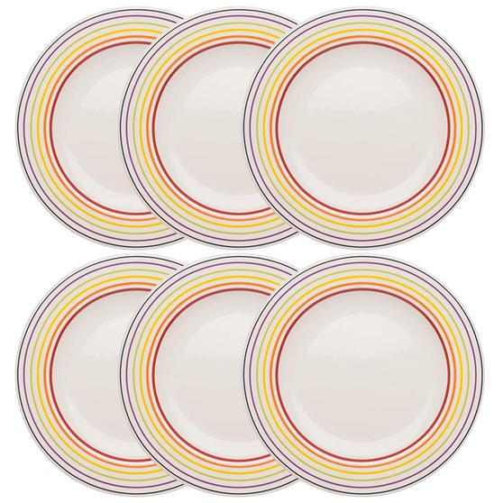 Bugatti COMBO-3351 Large Striped Dinner Plates, 27 cm, Multicolour, Set of 6