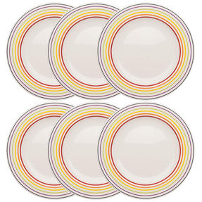 Bugatti COMBO-3351 Large Striped Dinner Plates, 27 cm, Multicolour, Set of 6 Thumbnail 1
