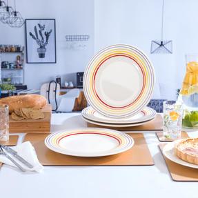 Bugatti COMBO-3351 Large Striped Dinner Plates, 27 cm, Multicolour, Set of 6 Thumbnail 6