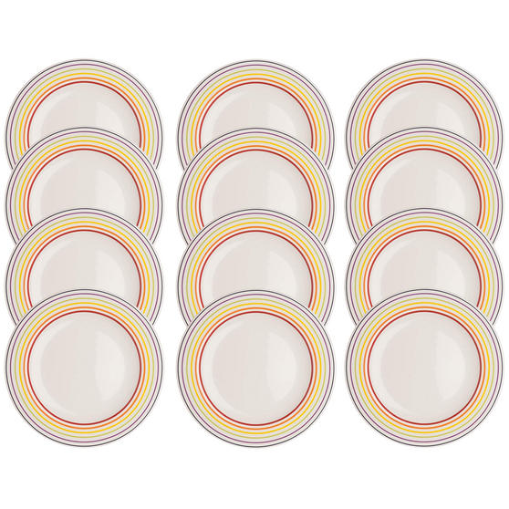 Bugatti COMBO-3352 Large Striped Dinner Plates, 27 cm, Multicolour, Set of 12