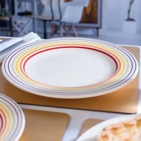 Bugatti COMBO-3352 Large Striped Dinner Plates, 27 cm, Multicolour, Set of 12 Thumbnail 7