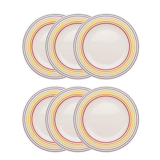Bugatti COMBO-3353 Striped Side Small Plates, 22 cm, Multicolour, Set of 6