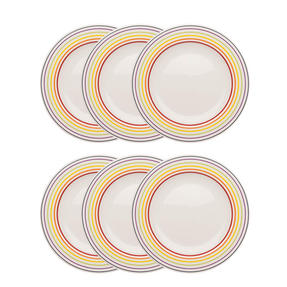 Bugatti COMBO-3353 Striped Side Small Plates, 22 cm, Multicolour, Set of 6 Thumbnail 1