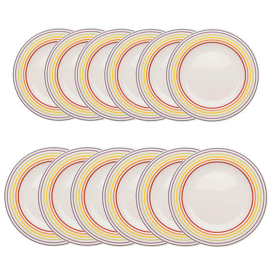Bugatti COMBO-3355 Large Striped 27 cm Dinner Plates and 22 cm Side Plates, Multicolour, 12 Piece Set