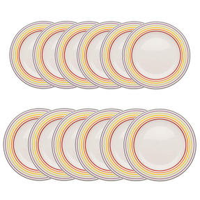 Bugatti COMBO-3355 Large Striped 27 cm Dinner Plates and 22 cm Side Plates, Multicolour, 12 Piece Set Thumbnail 1