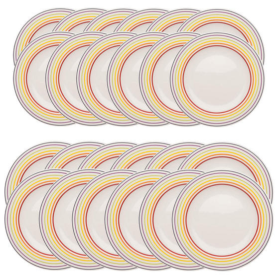 Bugatti COMBO-3356 Large Striped 27 cm Dinner Plates and 22 cm Side Plates, Multicolour, 24 Piece Set