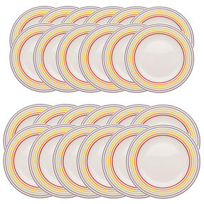 Bugatti COMBO-3356 Large Striped 27 cm Dinner Plates and 22 cm Side Plates, Multicolour, 24 Piece Set Thumbnail 1