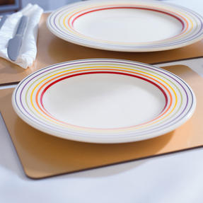 Bugatti COMBO-3356 Large Striped 27 cm Dinner Plates and 22 cm Side Plates, Multicolour, 24 Piece Set Thumbnail 6