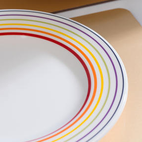 Bugatti COMBO-3356 Large Striped 27 cm Dinner Plates and 22 cm Side Plates, Multicolour, 24 Piece Set Thumbnail 7